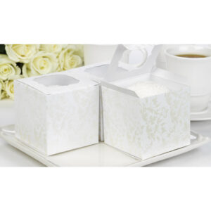 Favor Cupcake Box Pearl Flourish 24ct