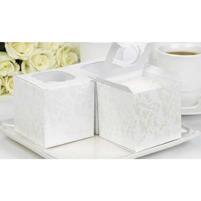 Favor Cupcake Box Pearl Flourish 24ct