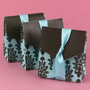 A Tent  Favor Box   Brown and Aqua  24ct