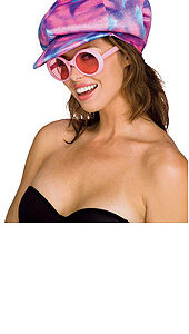 70's Disco Hat with Pink Glasses