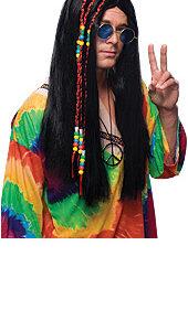 Hippie Long Black Hair Wig