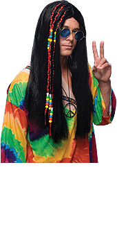 Hippie Long Black Hair Wig