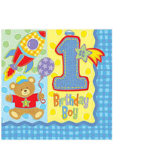 1st Birthday Hugs & Stitches - Boys  Lunch Napkins