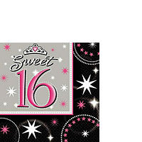 16 Sweet 16 - Sparkle Napkins - Beverage