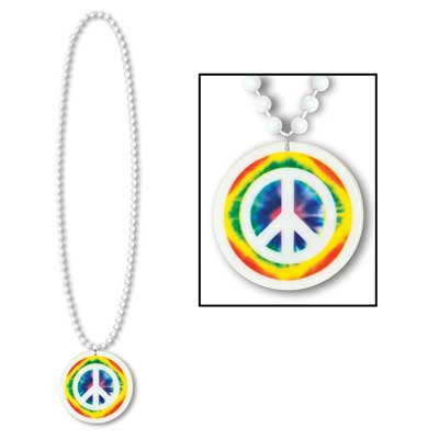 60's Peace Meddalion On Beads