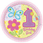 1st Birthday Hugs & Stitches Plates 10in