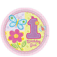 1st Birthday Hugs & Stitches Plates 8in