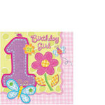 1st Birthday Hugs & Stitches Beverage  Napkins