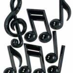 Black Plastic Music Note 7ct