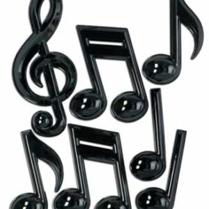 Black Plastic Music Note 7ct