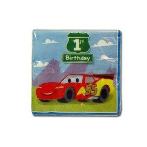 1st Birthday Pixar Cars Beverage  Napkins
