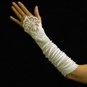 Bride White Satin Gloves