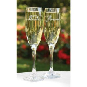 Champagne Flutes Bride & Groom