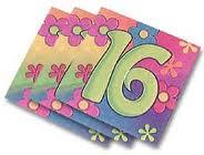 16th Flower  Power Beverage Napkins