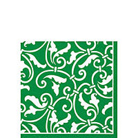 Christmas Green  Scroll  Beverage Napkins