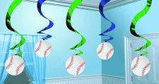 Baseball Swirl Hanging  decor 5ct