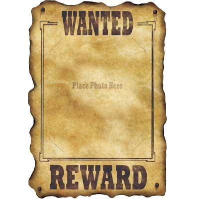 Western Wanted Reward Poster