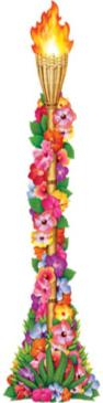 Cutout Luau Tiki Torch 4ft