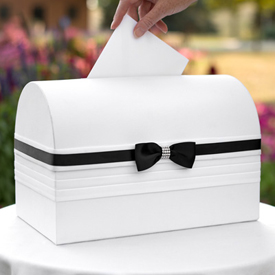 Card Box  Black Satin Ribbon
