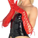 Gloves Lace Up Red