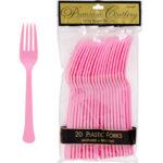 Pink Plastic Forks 24ct