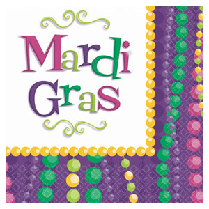Tableware Mardi Gras Beverage Napkins 30ct