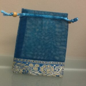 Favor Bag Teal Organza With Trim