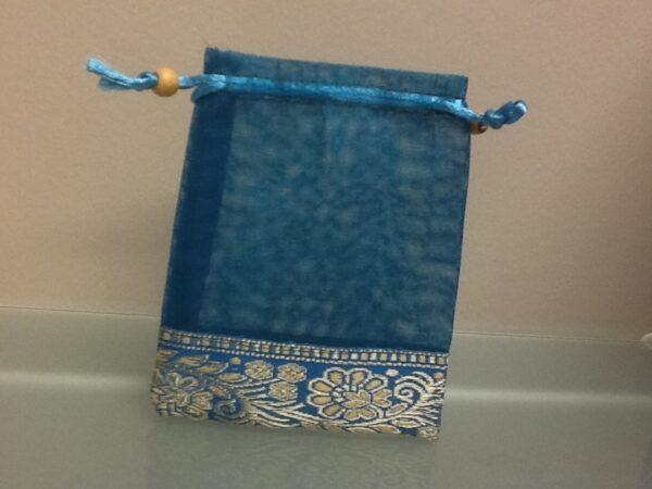 Favor Bag Teal Organza With Trim