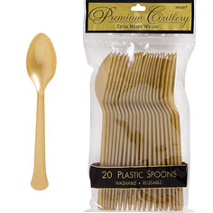 Tableware Gold Plastic Spoons 24ct