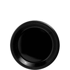 Tableware Black Plastic 7in  Plates 20 ct