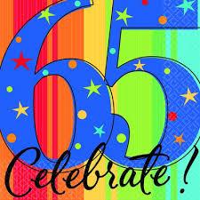 A year 65 Celebrate Beverage Napkins