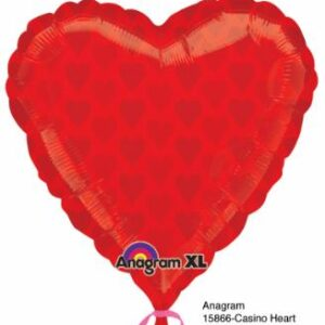 Balloon Casino Red Heart 22x22in