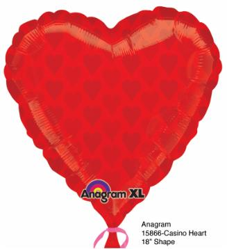 Balloon Casino Red Heart 22x22in