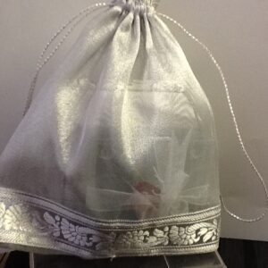 Favor Bag Organza Silver With Border
