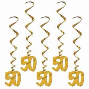 50th Anniversary Decor-Hanging Swirls 5ct