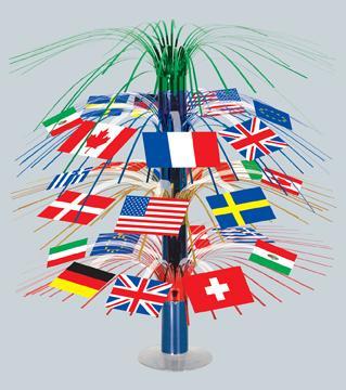 A International Flags Centerpiece 18in