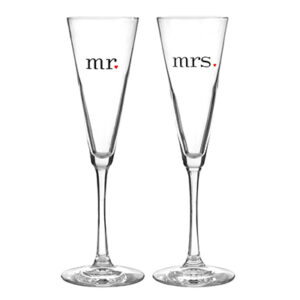 Champagne Toasting Flutes Mr & Mrs