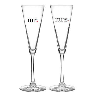 Champagne Toasting Flutes Mr & Mrs