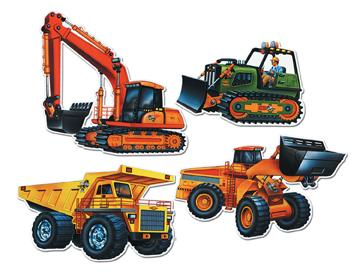 Construction Vehicle Cutouts 4ct