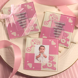 2 pc Coasters  Photo  Pink