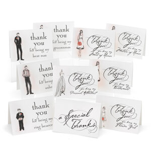 Wedding Party Thank You Cards Set 30 cards
