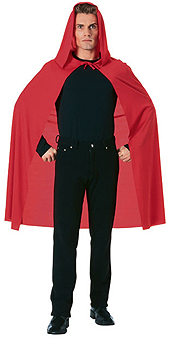Cape Hooded Red Long 45in