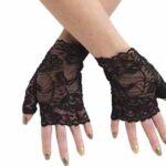 Black Net Finger less 80's Gloves