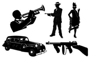 20's Gangster Cutouts 5ct