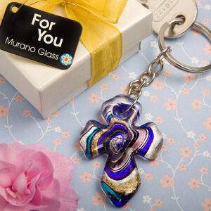 Keychain Cross Murano Glass