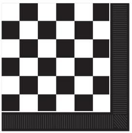 A Checkered Black white Luncheon Napkins