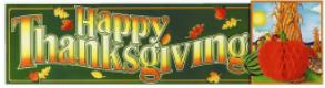 Banner Happy Thanksgiving with Tissue Pumpkin