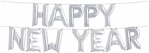 Balloon Banner Happy New Year Gold/Silver