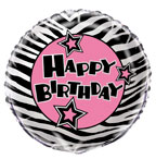 Balloon Happy Birthday Pink/Black