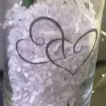 Glass Vase With Double Heart Cling